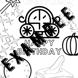 Cinderella coloring happybirthday example